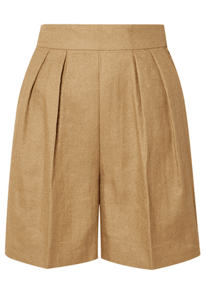 Theory - Pleated Woven Shorts - Beige