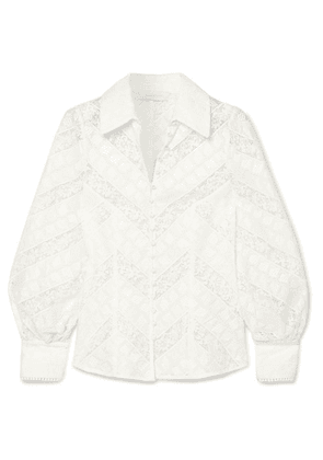 Zimmermann - Veneto Lantern Broderie Anglaise And Lace Blouse - Ivory