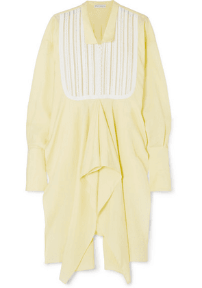 JW Anderson - Asymmetric Georgette And Broderie Anglaise Cotton Tunic - Yellow