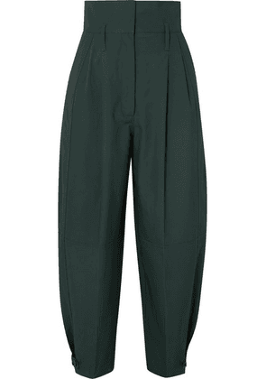 Givenchy - Pleated Cotton Tapered Pants - Green