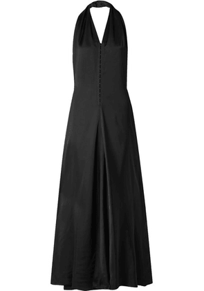 Victoria Beckham - Draped Satin Halterneck Maxi Dress - Black