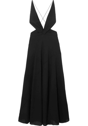 Givenchy - Cutout Halterneck Wool-crepe Gown - Black
