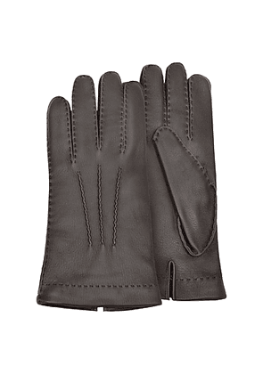 Men's Cashmere Lined Brown Italian Deer Leather Gloves