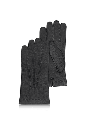 Men's Cashmere Lined Black Italian Calf Leather Gloves