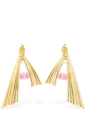 Pink Crystal & Bronze Knot Earrings