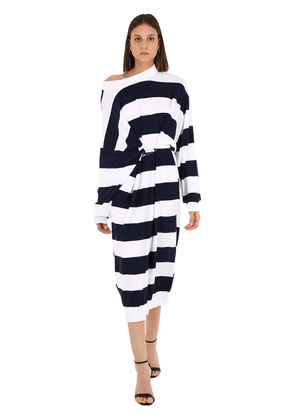 Striped Cotton & Wool Blend Knit Dress