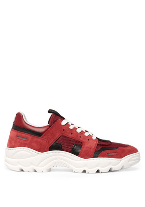 Ami - Running Lucky 9 Suede And Mesh Trainers - Mens - Burgundy