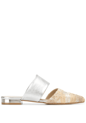 Anna Baiguera embroidered pointed mules - Silver