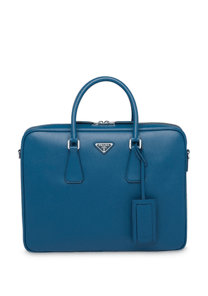 Prada logo plaque briefcase - Blue