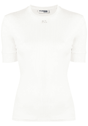 Courrèges ribbed knit short sleeve top - White