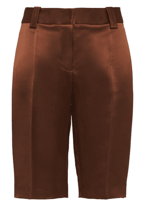 Prada double satin Bermuda shorts - Brown