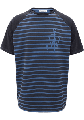 JW Anderson indigo JWA anchor and stripes short sleeve raglan t-shirt