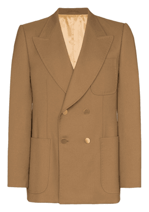 Gucci double-breasted exposed stitch blazer - Brown