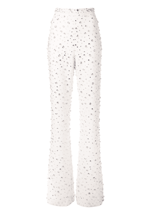 Christian Siriano embellished bell-bottom trousers - White