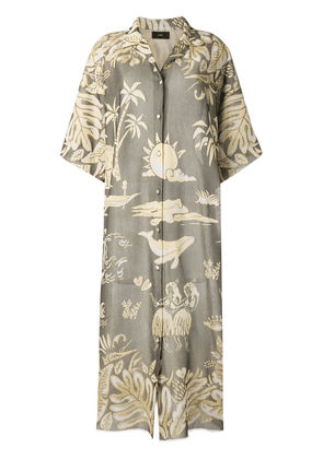 Alanui long printed shirt dress - Green
