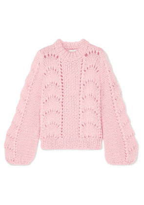 GANNI - Mohair And Wool-blend Sweater - Pastel pink