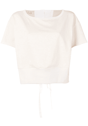 Marni cropped tie back T-shirt - Neutrals