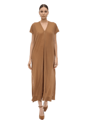 Long Cashmere Knit V Neck Dress