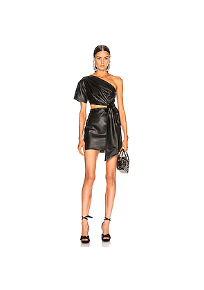 aab7661d76 Zeynep Arcay One Shoulder Mini Leather Dress in Black. Zeynep Arcay