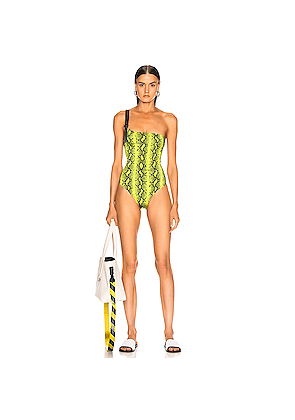 OFF-WHITE Python Industrial Body Swimsuit in Yellow