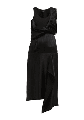 Atlein - Draped Bodice Satin Dress - Womens - Black
