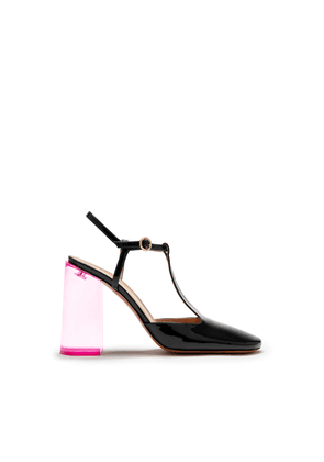 Mulberry Mary T-Bar Pump in Black and Sorbet Pink Patent