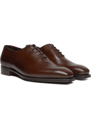 George Cleverley - Alan 3 Whole-cut Leather Oxford Shoes - Dark brown
