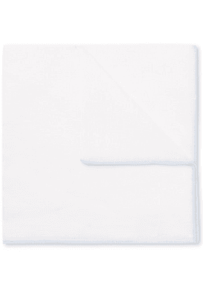 Anderson & Sheppard - Contrast-tipped Cotton And Linen-blend Pocket Square - White