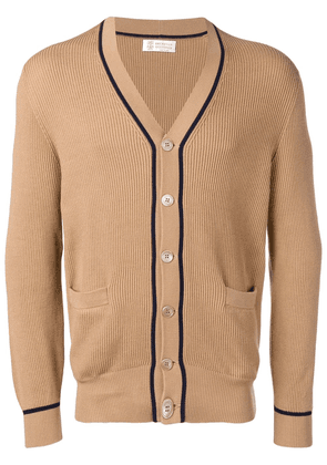 Brunello Cucinelli contrast-trim cardigan - Brown