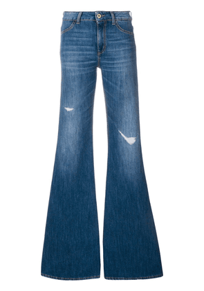 Dondup faded distressed detail flared jeans - Blue