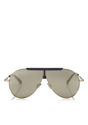 EDDY Silver Mirror Aviator Sunglasses with Antique Gold, Grey and Khaki