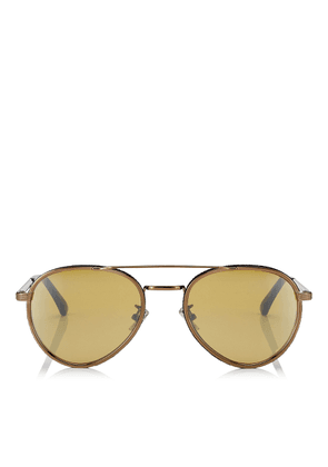 CAL Silver Mirror Lenses and Bronze Oval Frame Sunglasses with Blue Flock