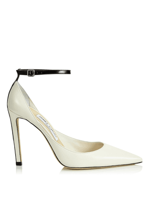 HELIX 100 Latte Nappa Leather Pump with Contrasting Black Patent Strap