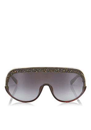 SIRYN Grey Shaded Mirror Mask Sunglasses with Gold Frame