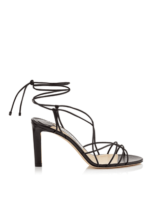 TAO 85 Black Nappa Leather Sandal with Spaghetti Straps