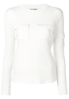 Courrèges pocketed knit sweater - White