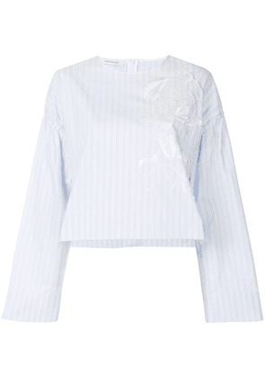 Cédric Charlier striped embroidered blouse - Blue