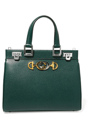1441d9ecccf Gucci - Zumi Embellished Textured-leather Tote - Dark green