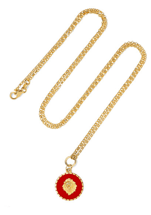 Foundrae - Strength 18-karat Gold Enamel Necklace - one size
