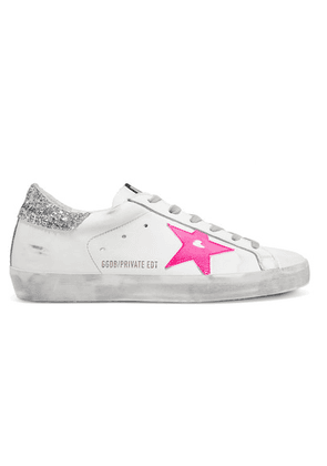Golden Goose - Superstar Glittered Distressed Leather Sneakers - White