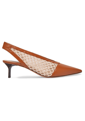 Altuzarra - Ane Embroidered Tulle And Leather Slingback Pumps - Tan