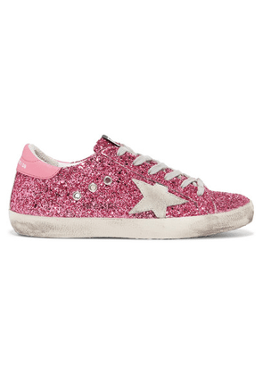 Golden Goose - Superstar Distressed Glittered Leather Sneakers - Pink