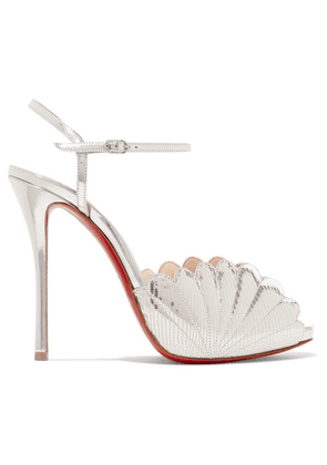 Christian Louboutin - Botticella 120 Metallic Lizard-effect Leather Sandals - Silver