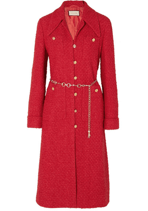 Gucci - Belted Tweed Coat - Red