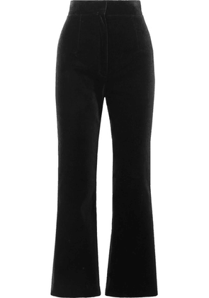 SAINT LAURENT - Cropped Cotton-velvet Flared Pants - Black