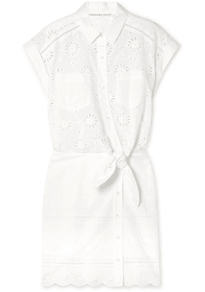 Veronica Beard - Bettina Tie-front Broderie Anglaise Cotton Mini Dress - White