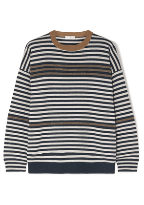 Brunello Cucinelli - Embellished Striped Wool Cashmere And Silk Sweater - Brown