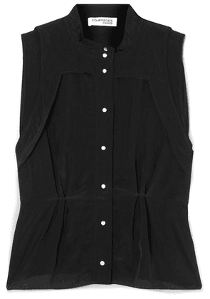 Courrèges - Crinkled-shell And Crepe Top - Black