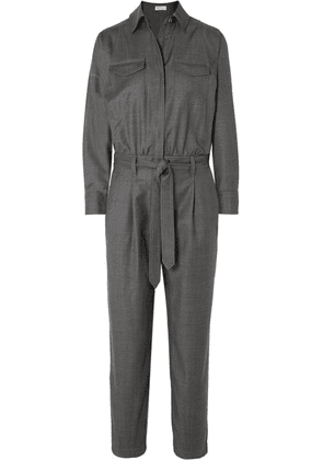 Brunello Cucinelli - Bead-embellished Belted Wool Jumpsuit - Charcoal