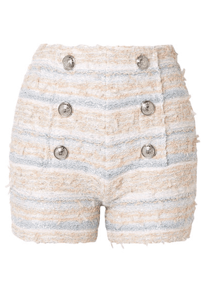 Balmain - Button-embellished Tweed Shorts - Pink